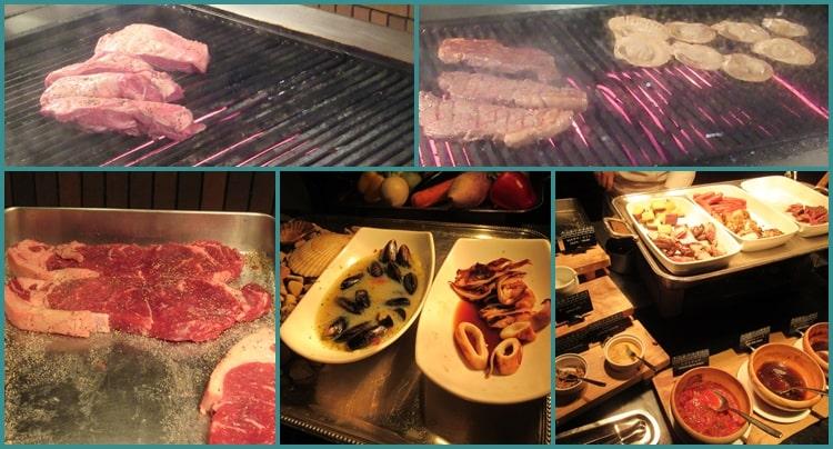 ニセコビレッジ ヒルトンホテル 夕食 バイキング グリル 鉄板 レストラン 料金 口コミ