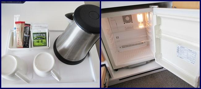 グリーンリーフホテル ニセコ ポットと冷蔵庫