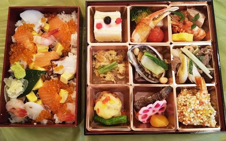 ルスツスキー場 ホテルの食事 弁当 夕食 コロナ対策 海鮮弁当